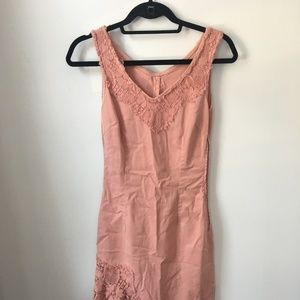 Vintage Moschino romantic lace dress in dusty pink